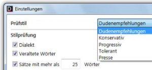 Test Duden-Korrektor Die verschiedenen Prüfstile