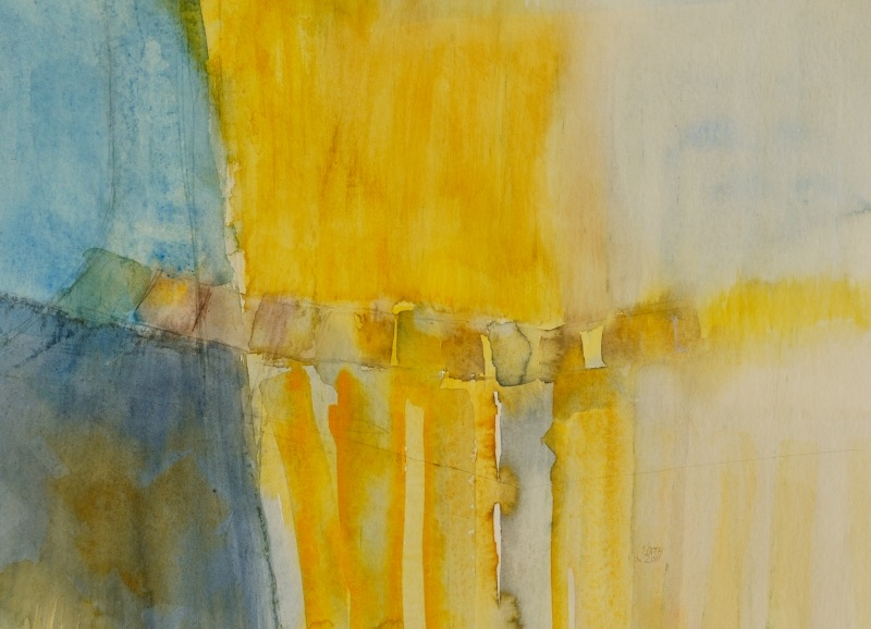 """Gelbe und blaue Farbe im Farbverlauf sind auf dem Aquarell """"Bandbrücke"""" zu sehen."""